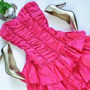 Vintage 80's Pink Prom Party Ruched Bow Dress 6